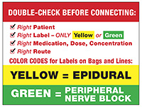 epidural medication bag warning label