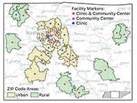 Facility map by urban and rural zip code areas